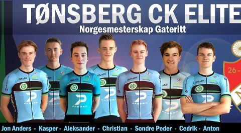 STERK TROPP: Tønsberg Cykkelklubb stiller med sju mann i Sandnes denne helgen.