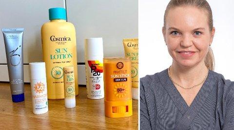 Hudlege Mari Skylstad Kvernebo ved Aleris Strømmen mener det aller viktigste er å kjøpe en solkrem du ikke er sparsom med å smøre på.