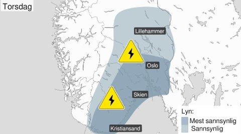 I Frogn og på Nesodden er det både farevarsel for styrtregn og mye lyn torsdag.
