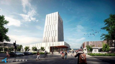HØYT OPP: Fornebus fjerde hotell kan få plass i dette høyhuset på 13–14 etasjer.