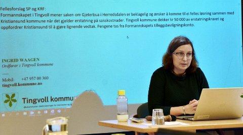 Greit nok: Ordfører Ingrid Waagen  ønsker at Kristiansund spleiser på advokatregninga.