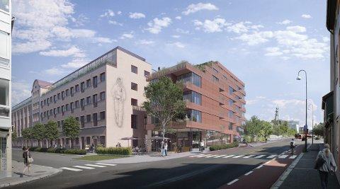 OVERGANG: Den gamle kjeksfabrikken kan få et moderne tilbygg.