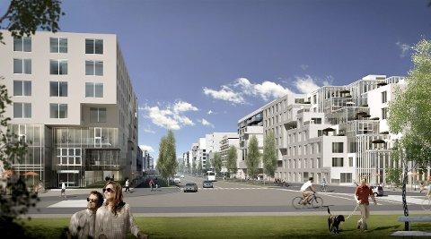 Ny bydel: Nå er Bodø et langt steg nærmere å bygge en ny og teknologisk avansert by på området som Bodø lufthavn og Forsvaret disponerer i dag. Det kan for eksempel se slik ut.  Skisser: Baezeni