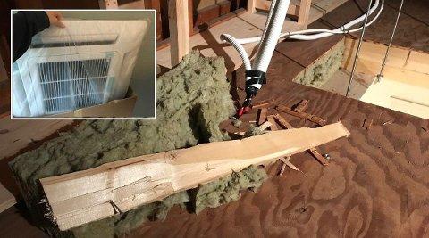 VARMEPUMPEN STÅR FORTSATT I ESKEN: Rune Hunter hyret inn håndverkere for å installere ny varmepumpe, fikk i stedet hull i taket og ødelagt bærebjelke.