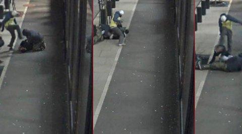 Overvåkingsbilder viser hvordan mannen (22) bli tildelt en rekke spark mens han ligger på bakken.