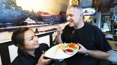 Dette bildet er fra august 2016, da driverne av Bangkok Thai Kitchen kunne juble over terningkast fem i Drammens Tidende.