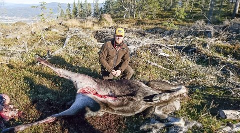 STOLT JEGER: Ole Solberg felte to elg på søndag på Helleseterfjellet. – Jeg var heldig som fikk dyr på post. Det kan gå flere år mellom hver gang                              du opplever å skyte en elg, forteller mjøndølingen. Han sier at elgjakten er en fin avslapning fra studier i Bergen. FOTO: PRIVAT