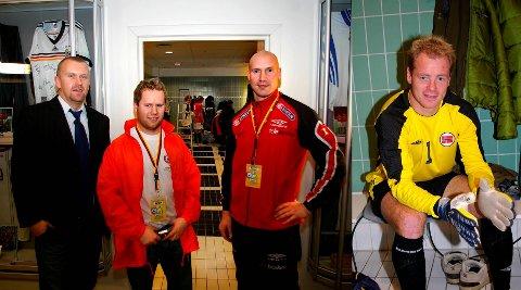 Tre fra Enebakk/Driv som venter på å bli filmet: F.v.: Kim Elverhøy, Bernt Myrer og Øistein Engen. Til høyre ser vi Knut Hovel Heiaas, som fikk den rette looken før han skulle i aksjon som Thomas Myhre i spillefilmen Lange flate ballær.