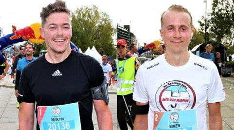 Martin Snellingen (til venstre)  løp fort i Oslo Maraton til tross for at han har trent lite og har minimalt med løpserfaring. Driv-spilleren Simen Nordhagen gjorde en flott figur da han debuterte i Oslo Maraton.
