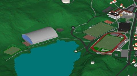 KANSKJE SLIK? Her ein illustrasjon på korleis ein fullskala fotballhall kan sjå ut ved Likkjevatnet.