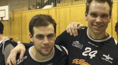 SMILET TILBAKE: Etter at Johan Åhlberg (til venstre) og Thomas Stræte sist helg tapte for Greåker, så var smiltet tilbake etter seieren over Sarpsborg.