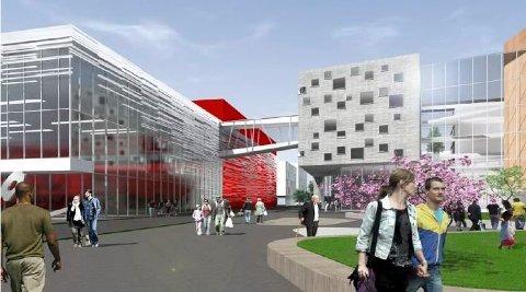 Kommer først om fem og et halvt år: Dette er en av skissene for  ny Frederik II og Arena Fredrikstad på Værste. Skolebyggingen skal etter planen starte tidlig i 2021. (Illustrasjon: Link Arkitektur)