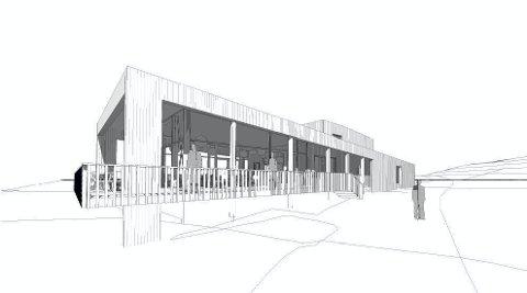 DET NYE FOTEN-BYGGET: Slik ser det planlagte servicebygget på Foten ut. Bygget har vertskapsbolig i 2. etasje. Tegning: Asas Arkitektur