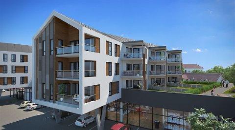 Slik vil de nye leilighetene på Fjeldberg se ut når de står klare. Planen er at det skal være i desember 2019, men etter å ha støtt på problemer i grunnforholdene har byggestarten blitt utsatt.