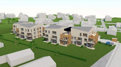 Den planlagte bebyggelsen sett fra syd. Denne blokkbebyggelsen ønsker utbyggerne å sette opp på den andre siden av veien vis a vis Bruket Brygge.