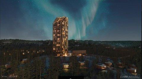 Slik har arkitekten tenkt seg at hotellet kan bli. Det er tenkt å bygge i høyden, men at det til gjengjeld blir et lite fotavtrykk på bakken. Illustrasjonen er fra tidlig konseptfase, så det er  ikke sikkert at det er slik det blir  til slutt.