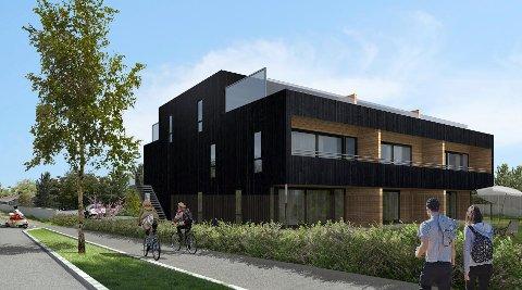 TREFASADE: Vårdal arkitekter har lagt vekt på at leilighetsbygget ikke skal skille seg vesentlig ut fra den øvrige bebyggelsen.