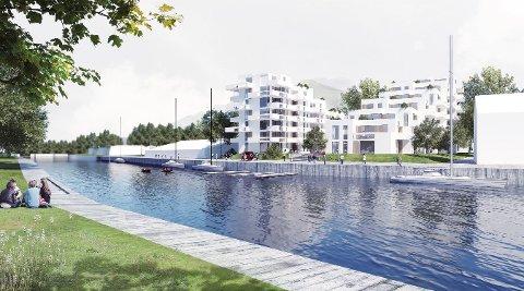 NYE BOLIGER: Østby Eiendom AS planlegger å utvikle Grønland Brygge langs Tista. Ikke alle er enige i planene om å bygge to blokkhus på åtte etasjer.