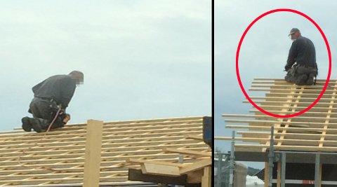 USIKRET: Denne arbeideren gjorde arbeid på tak - usikret. Det ble oppdaget da Arbeidstilsynet kom en tur på besøk.