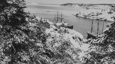 Utsikt fra Vestheia rundt 1900: Her har fotografen stått på Vestheia og skuet utover Kragerøfjorden. Nede i Tallakshavn ligger en seilskute i opplag for vinteren. Litt til venstre, ved Visiterodden, sees mastene til nok en seilskute.