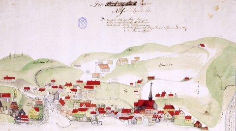 Prospekt av Moss: Byen vår for 300 år siden.