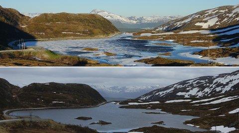 EN MÅNEDS FORSKJELL: Begge bildene er fra Finnvikvannet på Kvaløya, men forskjellene er store. I fjor lå fortsatt vannet islagt 23. juni. 30. mai i år var isen forduftet.