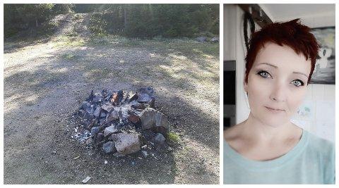 BÅL: Trude Estensen og familien fant dette brennende bålet på skogen andre pinsedag.