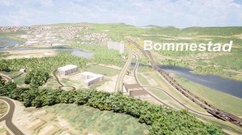 BOMMESTAD: Illustrasjon av trasé over Lågen ved Bommestad.
