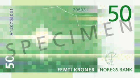 BAKSIDEN: Den nye 50-lappens bakside. Illustrasjon: Norges Bank
