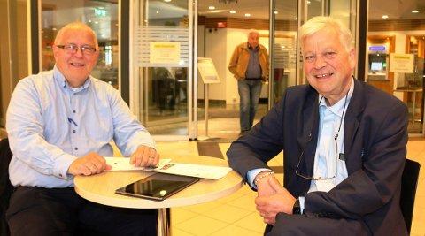 ØKONOMISK DUGNAD: Gunnar Moen er leder av Bamble Næringsforening, og Jon Guste-Pedersen er banksjef for forretningsutvikling i Skagerrak Sparebank. De inviterer til en økonomisk dugnad til et fond som skal gi økonomisk støtte til korona-rammede bedrifter i Bamble.