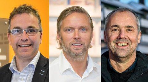 Stig Magne Øie (t.v.), daglig leder i REDE Eiendomsmegling, Gisle Kallestad ved EiendomsMegler 1 og daglig leder i Dnb Eiendom, Finn Hugo Amundsen, er enige om at beliggenhet betyr mye for boligkjøpere.