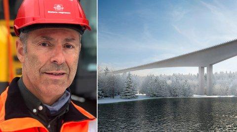 STOPPET AV KORONA: Prosjektleder Åge Brudeseth i Statens vegvesen må konstatere at arbeidene med E16-brua sover Randselva i veiprosjektet Eggemoen-Olum ligger brakk.