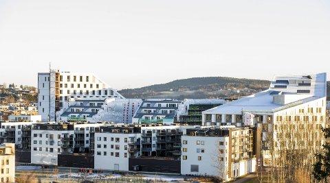 FLISBYEN DE LUXE: Portalen i Lillestrøm har ikke til hensikt å gli inn i den eksisterende bebyggelsen. Noen synes det er et spennende innslag i byen, mens enkelte fagfolk vender tommelen ned for det monumentale bygningskomplekset.Alle foto: Tom Gustavsen