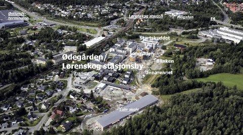 AKKURAT NÅ: Dette flyfotoet viser status for Ødegården-området akkurat nå, med nye Luhr skole og Framtia barnehage i forgrunnen. Foto: Terje Løchen/Ill.:RB