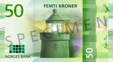 FORSIDEN: Den nye 50-lappens forside. Illustrasjon: Norges Bank