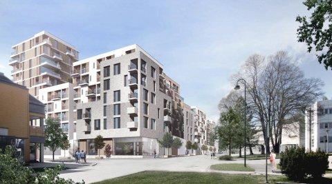 NYTT KVARTAL: Wergelandskvartalet i Sundet. Tårnet til venstre, lengst til høyre skimtes deler av Eidsvoll rådhus. (Ill.: Hille Melbye Arkitekter)