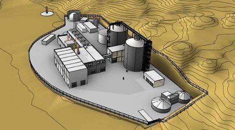 KAN BLI SLIK: Dette er en av skissene til det planlagte biogassanlegget til Nedre Romerike Avløpsselskap IKS i Blaker.