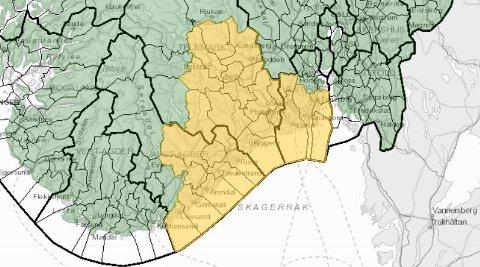 VARSEL: I området markert med gult varsler NVE om flom- og jordskredfare.