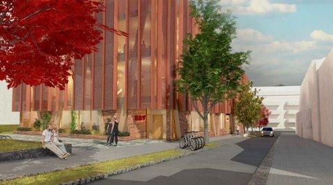 NYTT NAV-BYGG: NAV har planer om å flytte fra Thor Dahl-bygget og etablere 150 arbeidsplasser i fire av de fem etasjene i dette planlagte kontorbygget i Søebergs gate 1-3, her sett fra sør. (Illustrasjon: Ola Roald Arkitekter)