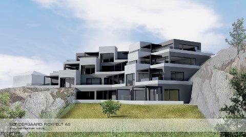 PERSPEKTIV: Slik vil leilighetene framstå fra Heddalsveien i fjellskringen opp mot Vrådalsgate 8. (Tegning: Søndergaard Rickfelt.)