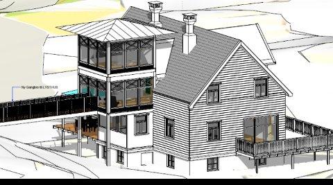 Slik ser tegningen av sveitservillaen med det nye tårnet ut i saksdokumentene til Tingvoll formannskap. Tegning: Sivilarkitekt Terje Husby