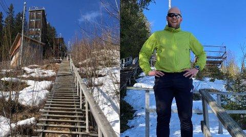 MYE BRUKT: Torgeir Molvær er blant mange som bruker trappene i Lønnberget aktivt til trening og turer. Nå er han i gang med å samle en dugnadsgjeng som vil være med på å ruste opp anlegget, og er i ferd med å samle inn midler.