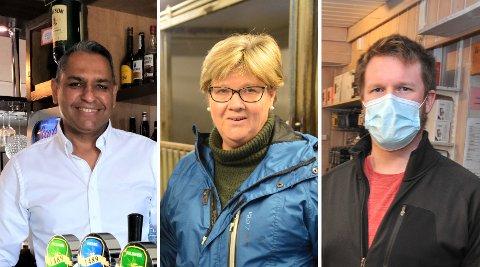 FÅRHJELP:Tre av bedriftene som får koronastøtte; f.v. Rajender Singh i Hagan cafe, Annine Andreassen i Nittedal hestesenter og Stian Glømmi i Glømmi sport.