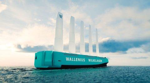NYSATSING: De foreløpige skissene av Wallenius Wilhelmsens vinddrevne ro-ro-skip minner lite om gamle tiders seilskuter.
