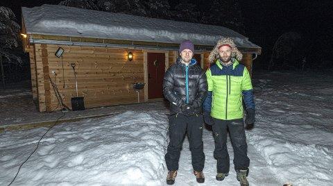 Utviklere: Emil Bråten (t.v.) og Morten Strøm i Skarfjell Utvikling, her på Camp Dronningkrona. Arkivbilde.