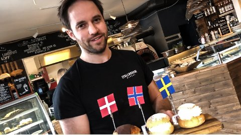 FRA HELE SKANDINAVIA: Thomas Valand på Tollboden presenterte forrige uke tre forskjellige typer fastelavensboller: Norsk, svensk og dansk.
