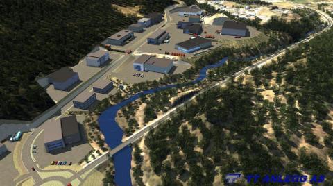 ILLUSTRASJON: Foreløpig 3D-illustrasjon av næringstomter på planområdet sett imot sørvestlig retning.