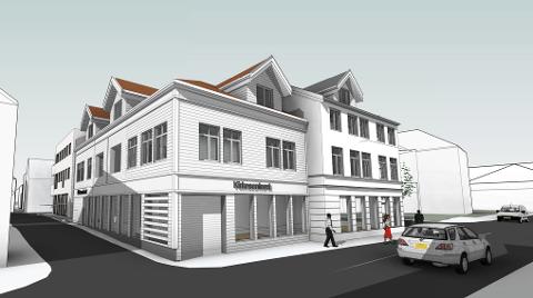 OPPSPLITTET: Fasaden splittes opp slik at det fremstår som flere bygg.