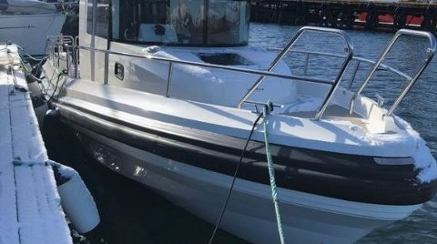 SAVNET: Båten er av type Paragon 31 fot. FOTO: HOVEDREDNINGSSENTRALEN SØR-NORGE