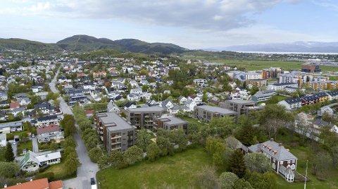 Lavblokker: Slik blir bebyggelsen seende ut. Salget skulle starte i mars i år, men er utsatt. Foto: Norconsult